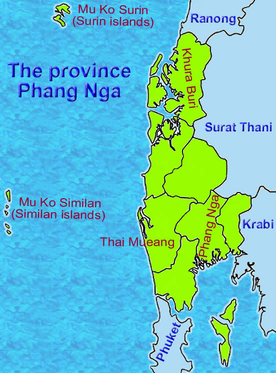 Phang Nga province map of Thailand
