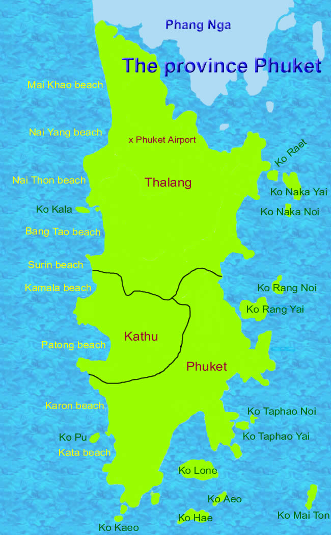 Phuket province map of Thailand